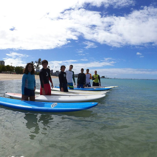 Large group of 7 with boards in the water about to start their private surfing lesson. Provided by Polu Lani Surf